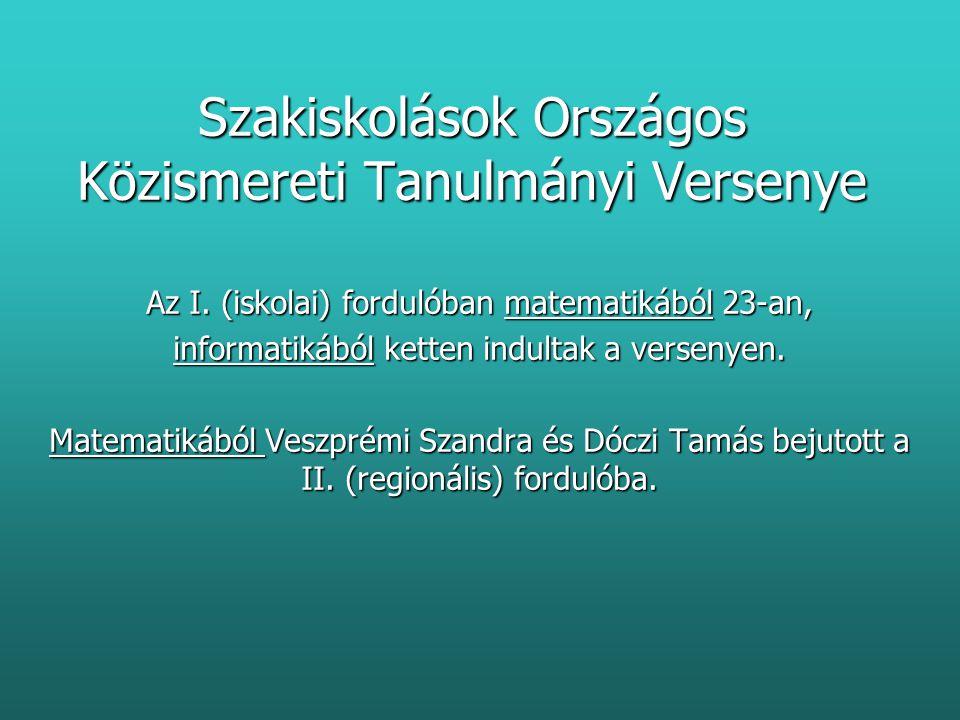 Szakiskolások Országos Közismereti Tanulmányi Versenye Az I.
