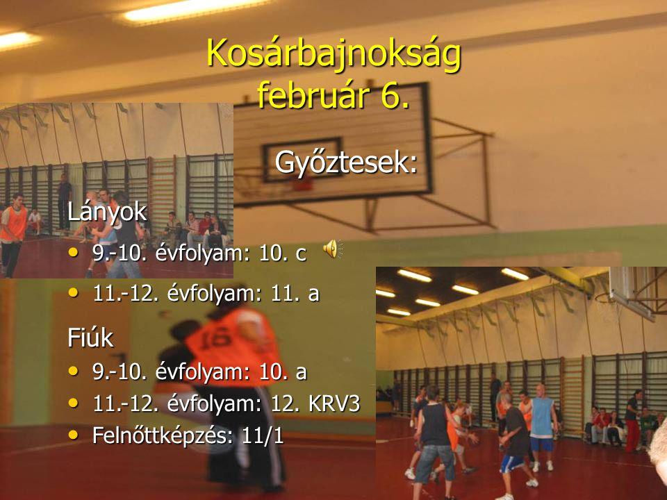 Kosárbajnokság február 6. Győztesek:Lányok • 9.-10. évfolyam: 10. c • 11.-12. évfolyam: 11. a Fiúk • 9.-10. évfolyam: 10. a • 11.-12. évfolyam: 12. KR