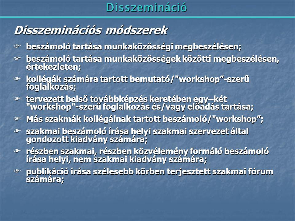 Disszemináció Disszeminációs módszerek  beszámoló tartása munkaközösségi megbeszélésen;  beszámoló tartása munkaközösségek közötti megbeszélésen, ér