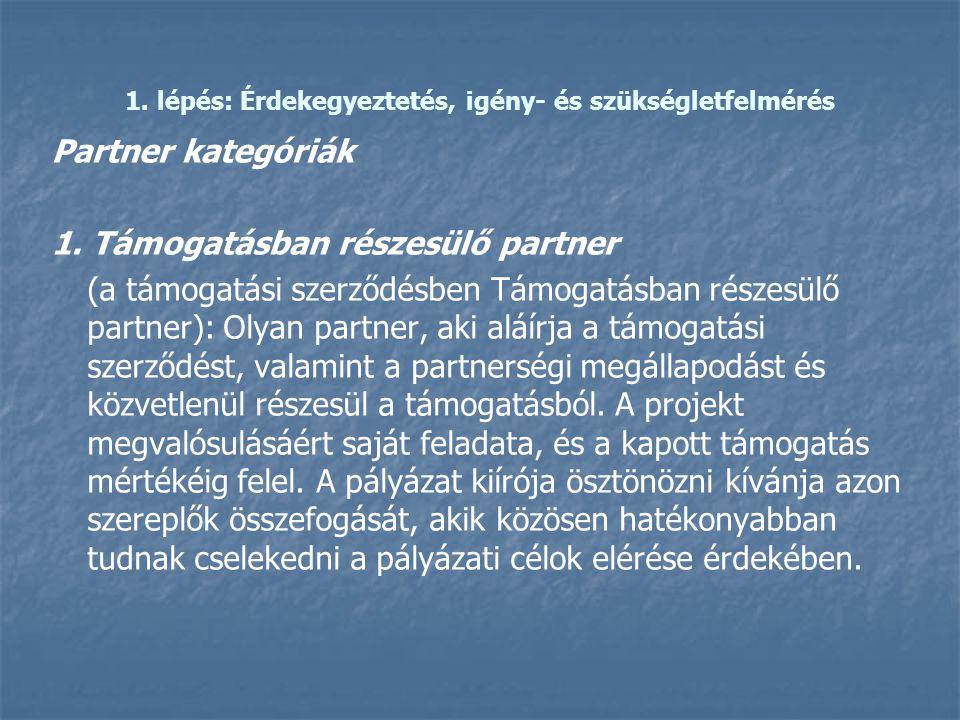 1. lépés: Érdekegyeztetés, igény- és szükségletfelmérés Partner kategóriák 1. Támogatásban részesülő partner (a támogatási szerződésben Támogatásban r