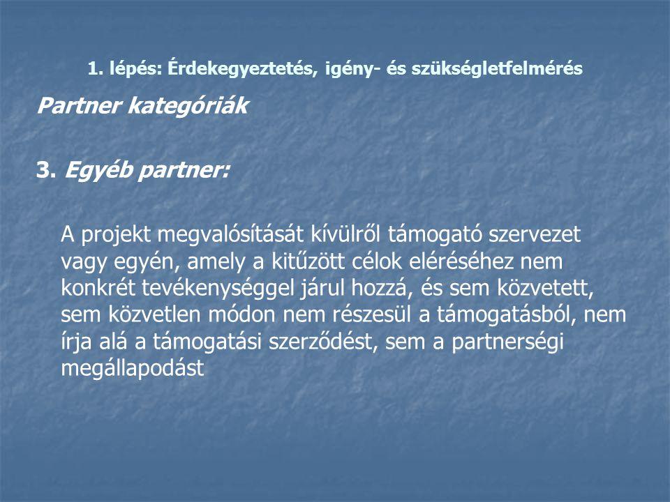 1. lépés: Érdekegyeztetés, igény- és szükségletfelmérés Partner kategóriák 3. Egyéb partner: A projekt megvalósítását kívülről támogató szervezet vagy