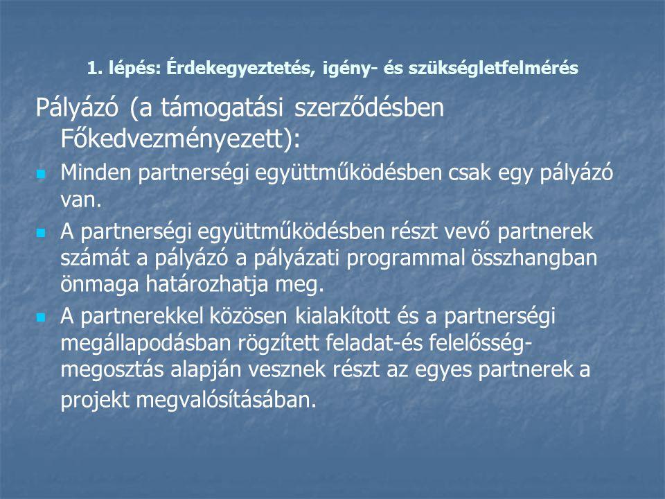 1. lépés: Érdekegyeztetés, igény- és szükségletfelmérés Pályázó (a támogatási szerződésben Főkedvezményezett):   Minden partnerségi együttműködésben