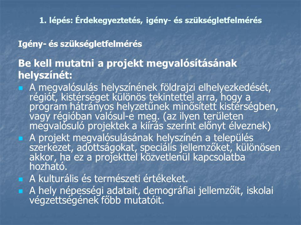 1. lépés: Érdekegyeztetés, igény- és szükségletfelmérés Igény- és szükségletfelmérés Be kell mutatni a projekt megvalósításának helyszínét:   A megv