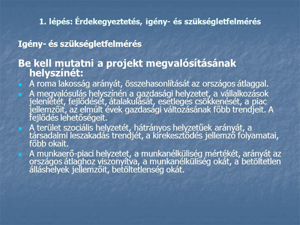 1. lépés: Érdekegyeztetés, igény- és szükségletfelmérés Igény- és szükségletfelmérés Be kell mutatni a projekt megvalósításának helyszínét:   A roma