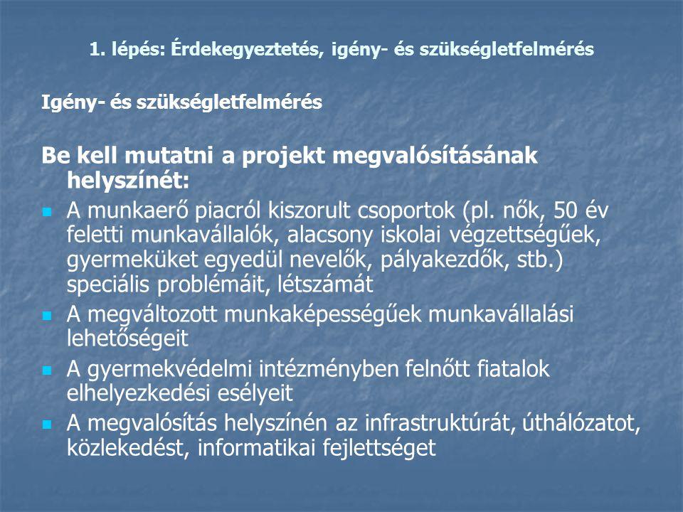 1. lépés: Érdekegyeztetés, igény- és szükségletfelmérés Igény- és szükségletfelmérés Be kell mutatni a projekt megvalósításának helyszínét:   A munk