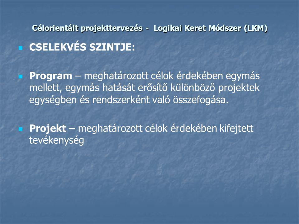 Célorientált projekttervezés - Logikai Keret Módszer (LKM)   CSELEKVÉS SZINTJE:   Program – meghatározott célok érdekében egymás mellett, egymás h