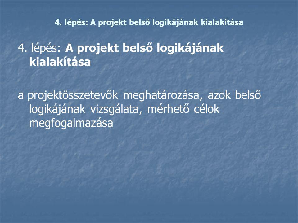 4. lépés: A projekt belső logikájának kialakítása a projektösszetevők meghatározása, azok belső logikájának vizsgálata, mérhető célok megfogalmazása
