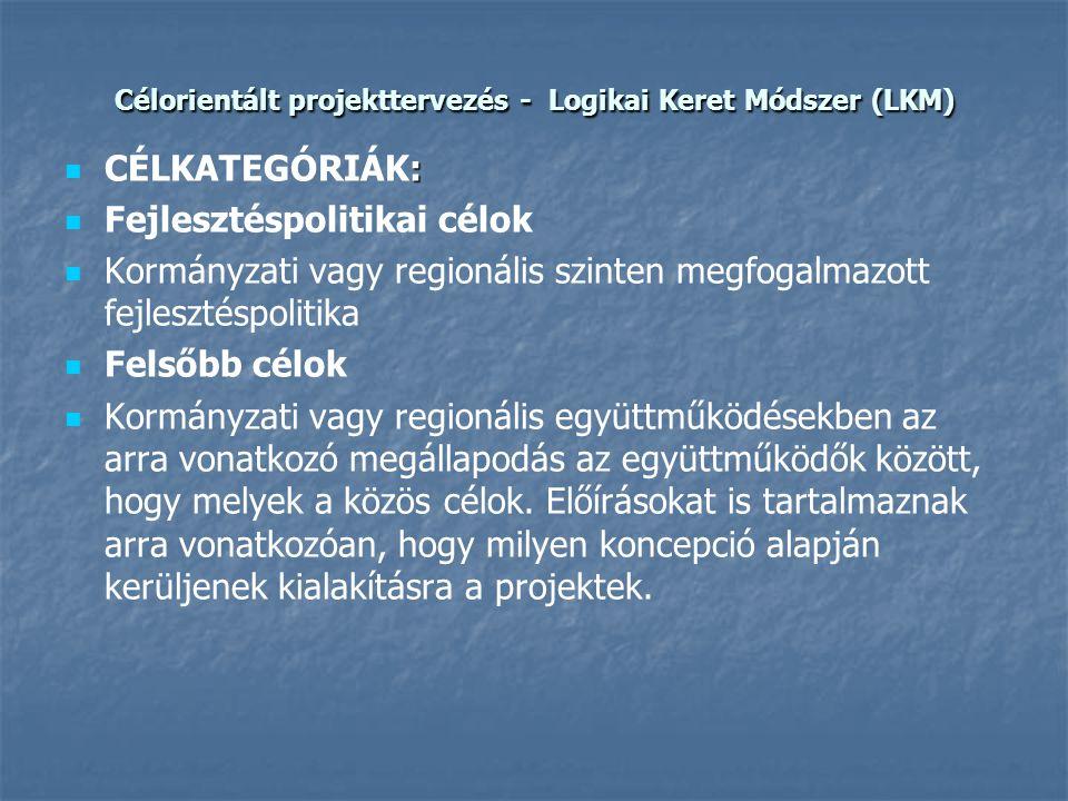 Célorientált projekttervezés - Logikai Keret Módszer (LKM)  :  CÉLKATEGÓRIÁK:   Fejlesztéspolitikai célok   Kormányzati vagy regionális szinten