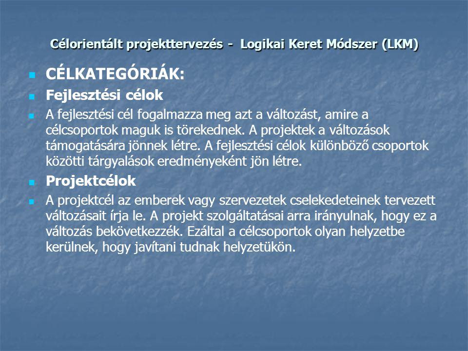 Célorientált projekttervezés - Logikai Keret Módszer (LKM)   CÉLKATEGÓRIÁK:   Fejlesztési célok   A fejlesztési cél fogalmazza meg azt a változá