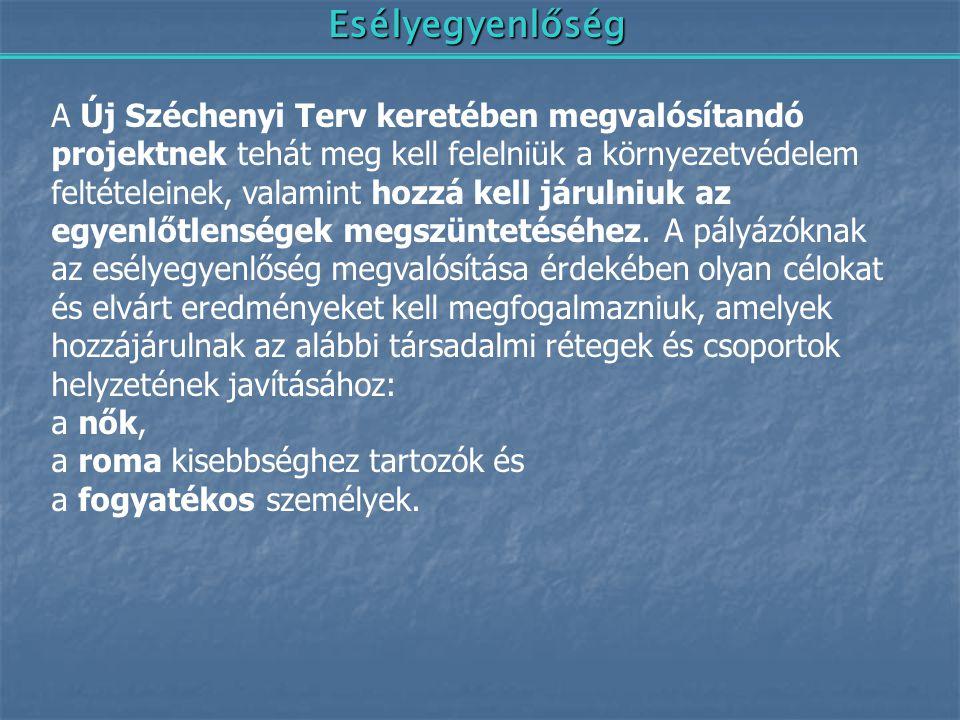 Esélyegyenlőség A Új Széchenyi Terv keretében megvalósítandó projektnek tehát meg kell felelniük a környezetvédelem feltételeinek, valamint hozzá kell