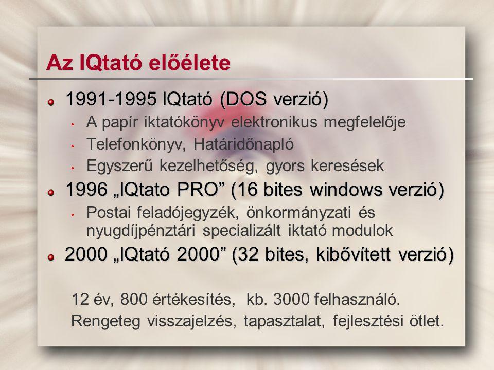 Az új IQtató moduljai, fő funkciói Központi szótárak, paraméter táblák Iktató modulok (Érk.Univ.Önk.Szla.Posta,I.tár) Dokumentumtár (linkek, beágyazások, ISO..) Ügymenet támogatás (átadás, átvétel,...) Eseménykezelő (feladatok, határidők...) Ügy- és projekt kezelő (értékesítés, jogügy...) PIM, CRM, HELPDESK kiterjesztések Kapcsolat más rendszerekkel (Excel, Word..)
