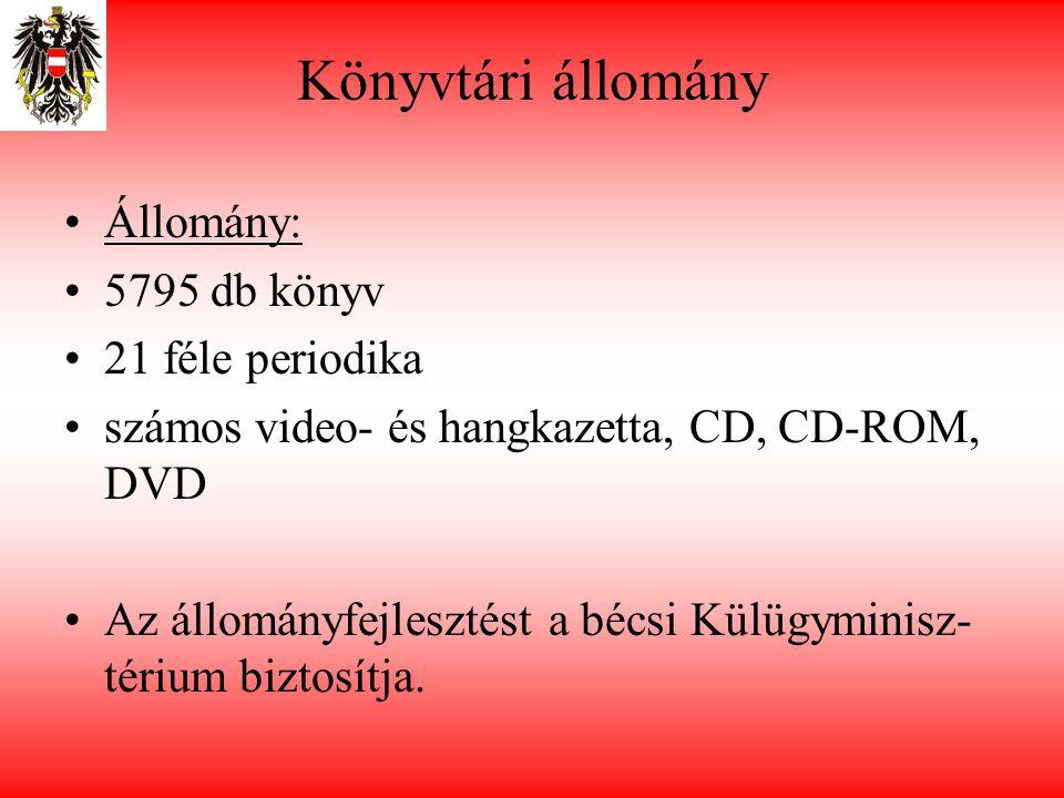 Könyvtári állomány •Állomány: •5795 db könyv •21 féle periodika •számos video- és hangkazetta, CD, CD-ROM, DVD •Az állományfejlesztést a bécsi Külügyminisz- térium biztosítja.