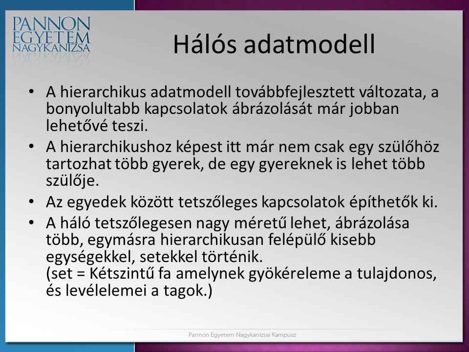 Hálós adatmodell • A hierarchikus adatmodell továbbfejlesztett változata, a bonyolultabb kapcsolatok ábrázolását már jobban lehetővé teszi. • A hierar