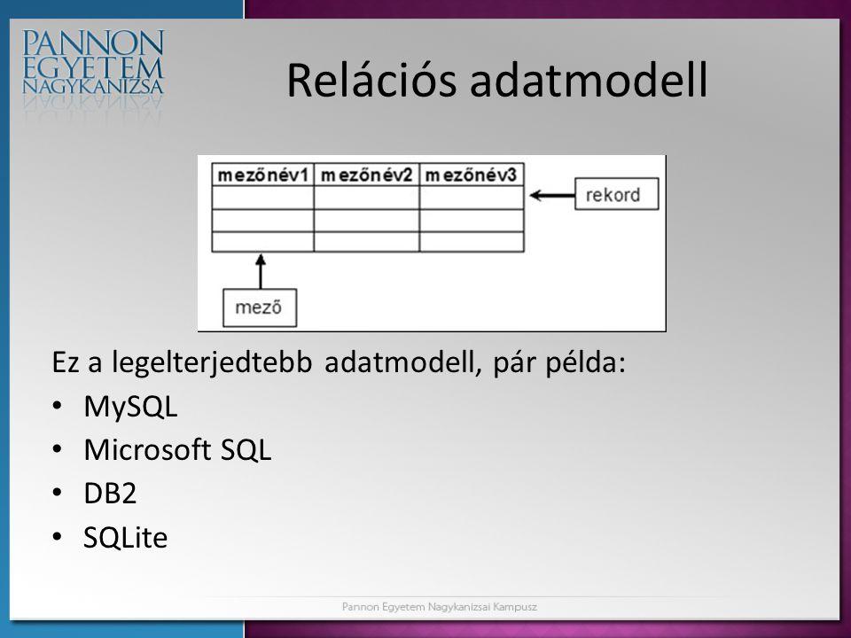 Relációs adatmodell Ez a legelterjedtebb adatmodell, pár példa: • MySQL • Microsoft SQL • DB2 • SQLite