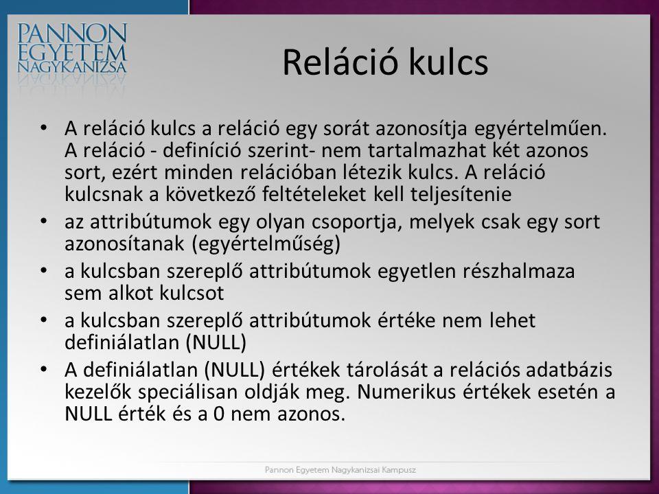 Reláció kulcs • A reláció kulcs a reláció egy sorát azonosítja egyértelműen. A reláció - definíció szerint- nem tartalmazhat két azonos sort, ezért mi