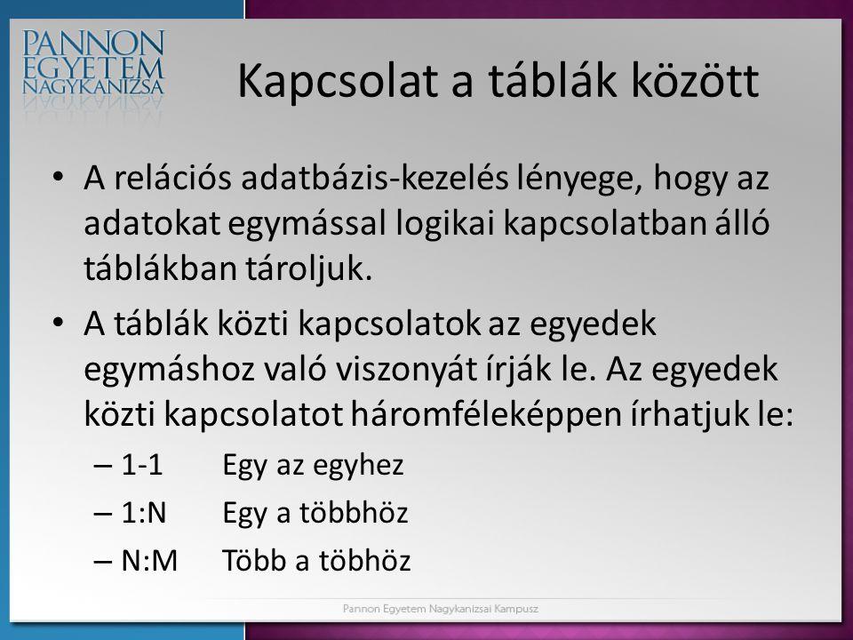 Kapcsolat a táblák között • A relációs adatbázis-kezelés lényege, hogy az adatokat egymással logikai kapcsolatban álló táblákban tároljuk. • A táblák