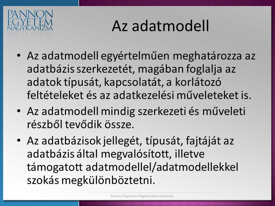 Az adatmodell • Az adatmodell egyértelműen meghatározza az adatbázis szerkezetét, magában foglalja az adatok típusát, kapcsolatát, a korlátozó feltéte