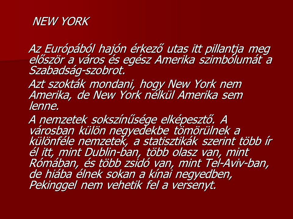 NEW YORK NEW YORK Az Európából hajón érkező utas itt pillantja meg először a város és egész Amerika szimbólumát a Szabadság-szobrot.