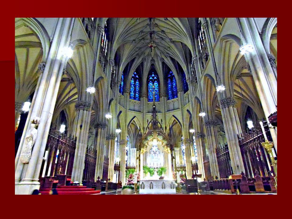 A Szent Patrick székesegyház: New York legnagyobb és legismertebb temploma a Rockefeller Center szomszédságában, ez a New York-i érsek temploma. Szegé