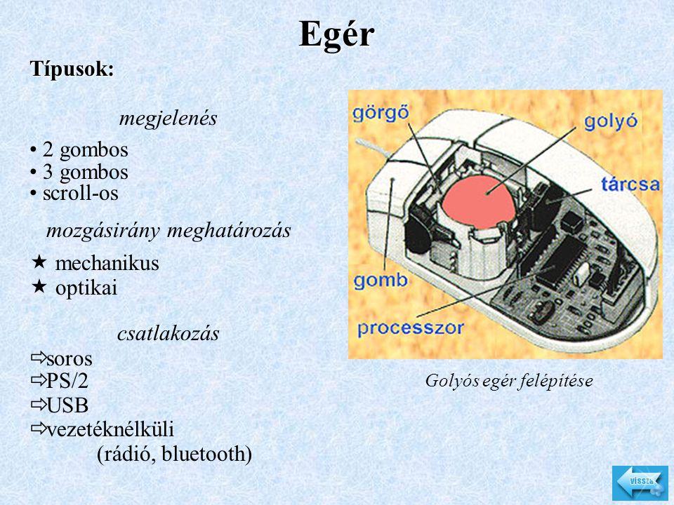 Egér Golyós egér felépítése Típusok: megjelenés • 2 gombos • 3 gombos • scroll-os mozgásirány meghatározás  mechanikus  optikai csatlakozás  soros