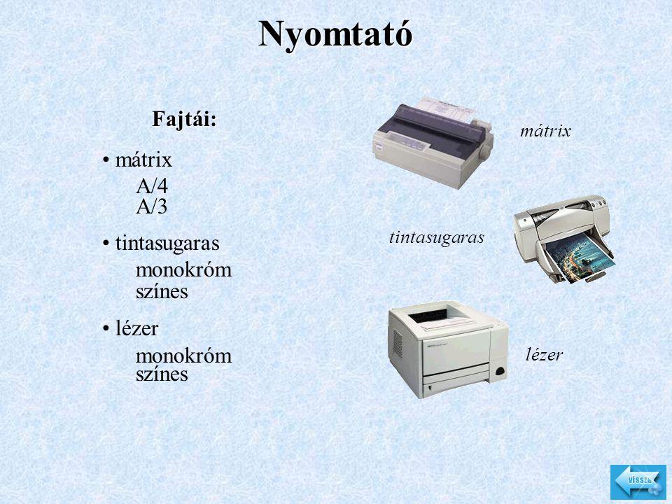 Lapolvasó Típusok: • kézi • asztali (flatbed) • dia Csatlakozófelületek: • párhuzamos • SCSI • USB