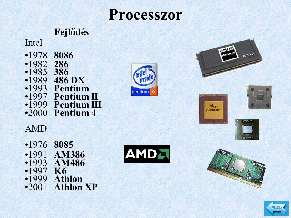 Processzor Fejlődés Intel •19788086 •1982286 •1985386 •1989486 DX •1993Pentium •1997Pentium II •1999Pentium III •2000Pentium 4 AMD •19768085 •1991AM38