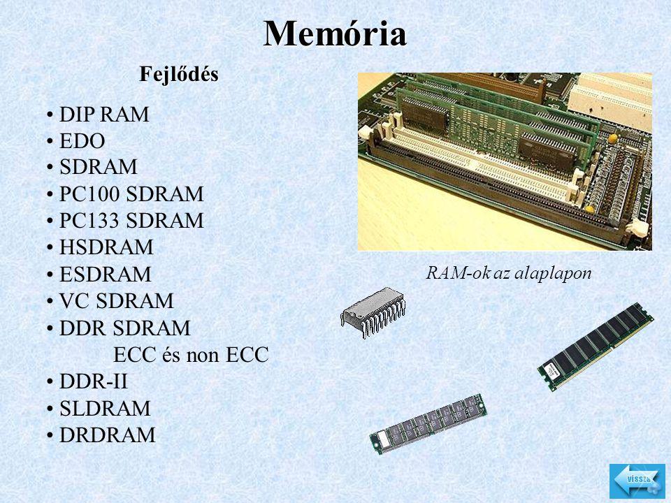 Memória RAM-ok az alaplapon Fejlődés • DIP RAM • EDO • SDRAM • PC100 SDRAM • PC133 SDRAM • HSDRAM • ESDRAM • VC SDRAM • DDR SDRAM ECC és non ECC • DDR