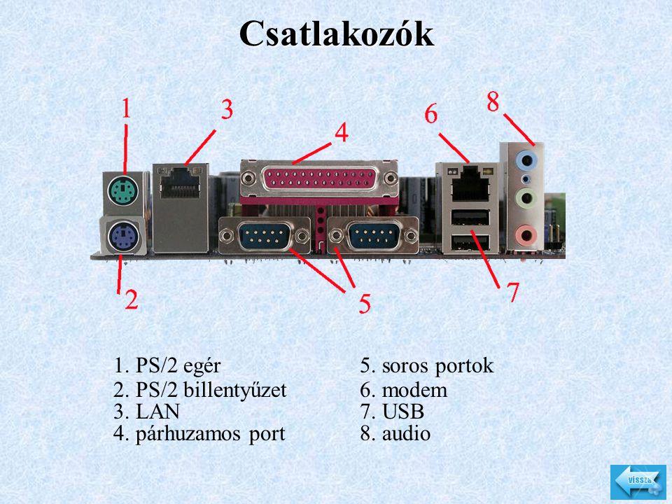 Csatlakozók 1. PS/2 egér 2. PS/2 billentyűzet 3. LAN 4. párhuzamos port 5. soros portok 6. modem 7. USB 8. audio
