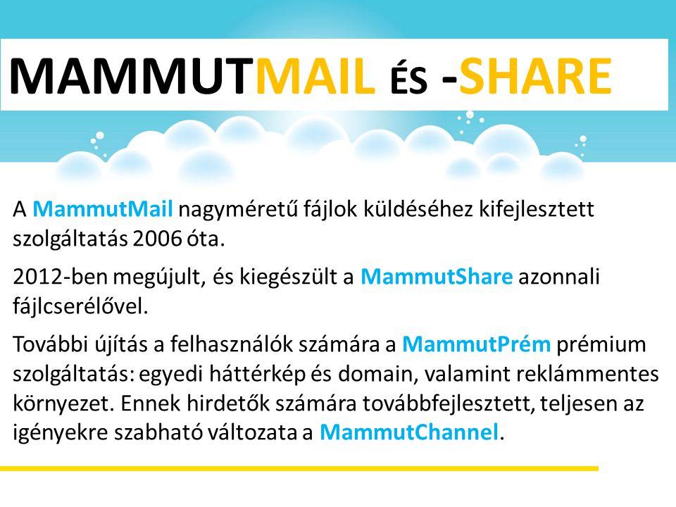 MAMMUTMAIL ÉS -SHARE A MammutMail nagyméretű fájlok küldéséhez kifejlesztett szolgáltatás 2006 óta. 2012-ben megújult, és kiegészült a MammutShare azo