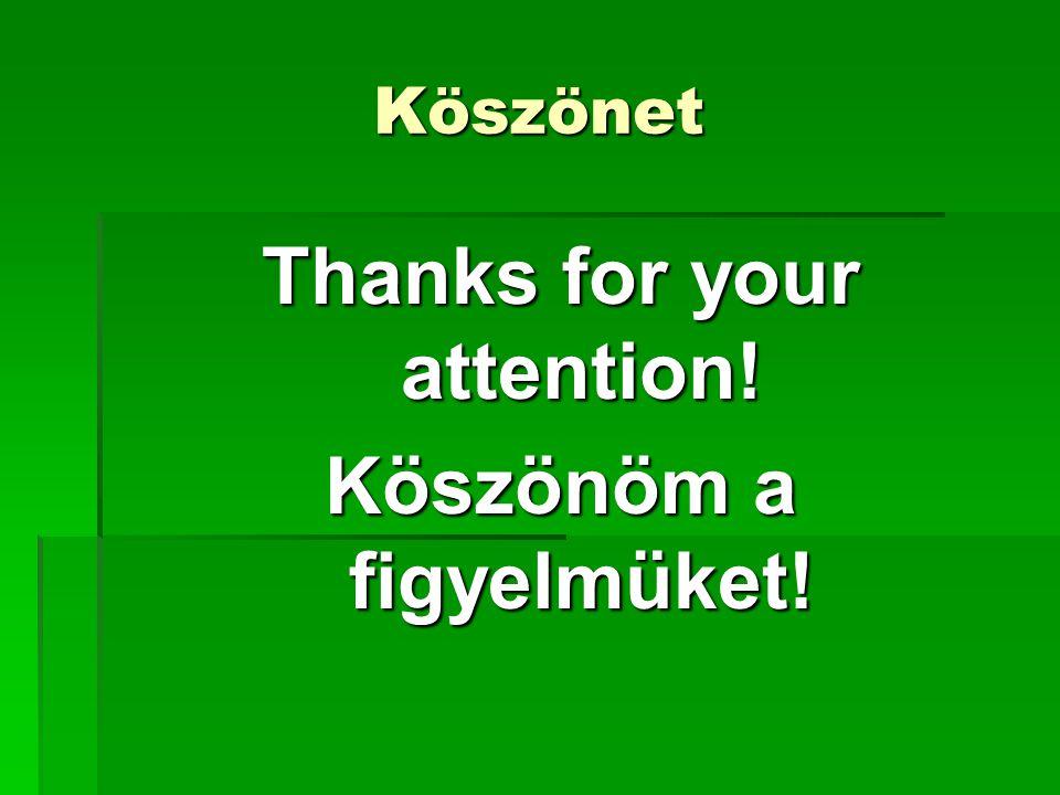 Köszönet Thanks for your attention! Köszönöm a figyelmüket!
