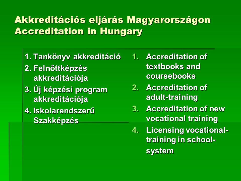 Akkreditációs eljárás Magyarországon Accreditation in Hungary 1.