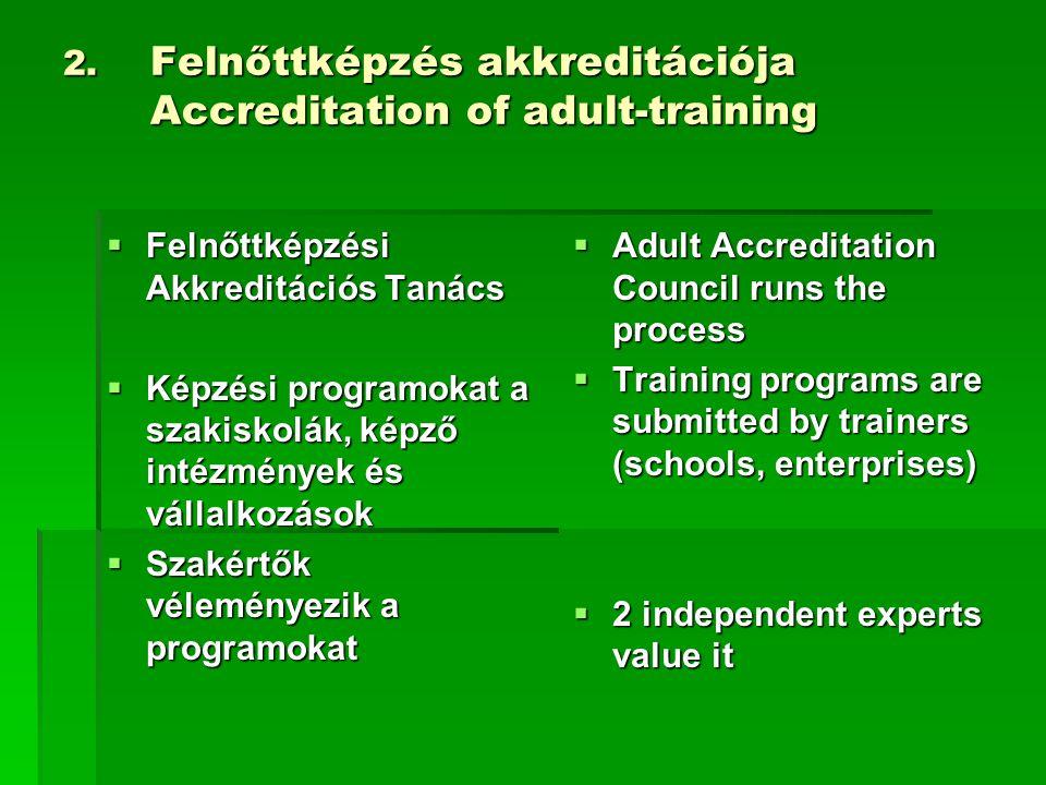 2. Felnőttképzés akkreditációja Accreditation of adult-training  Felnőttképzési Akkreditációs Tanács  Képzési programokat a szakiskolák, képző intéz