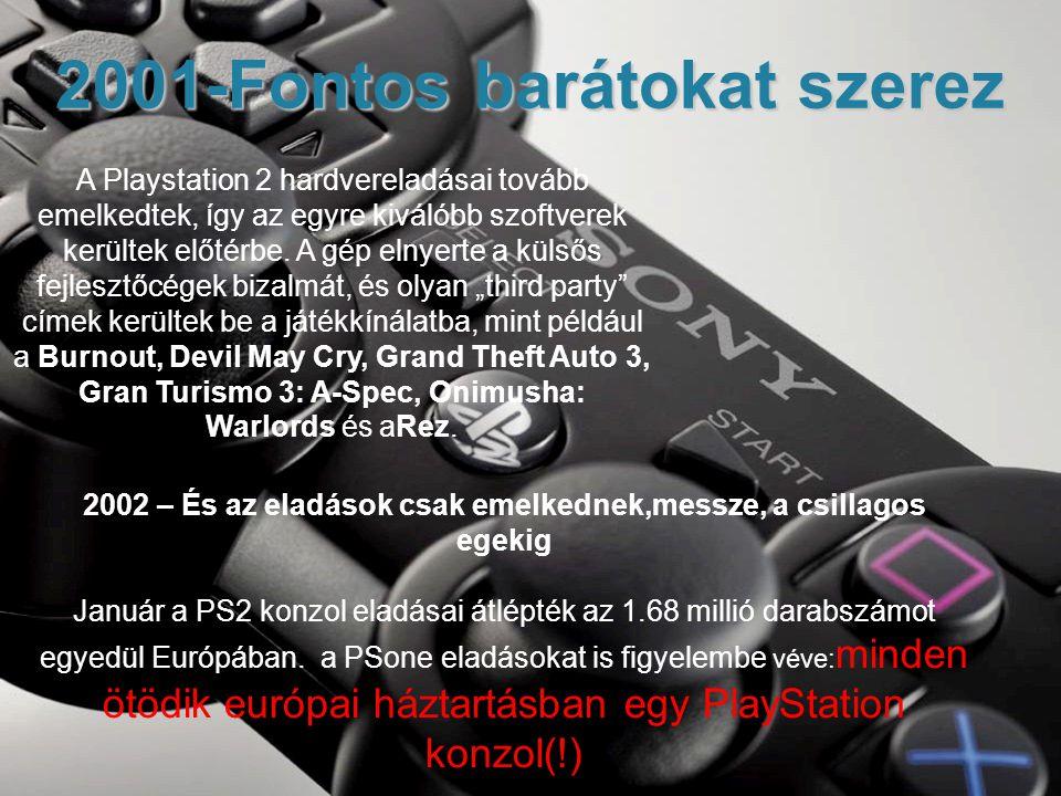2001-Fontos barátokat szerez A Playstation 2 hardvereladásai tovább emelkedtek, így az egyre kiválóbb szoftverek kerültek előtérbe.