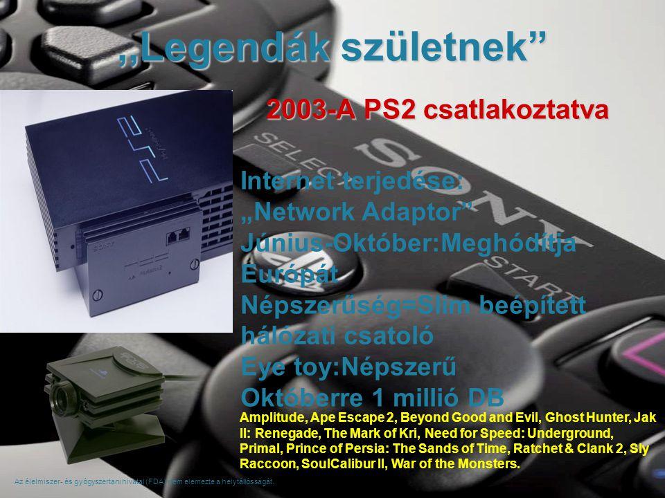 """,,Legendák születnek Internet terjedése: """"Network Adaptor Június-Október:Meghódítja Európát Népszerűség=Slim beépített hálózati csatoló Eye toy:Népszerű Októberre 1 millió DB 2003-A PS2 csatlakoztatva Az élelmiszer- és gyógyszertani hivatal (FDA) nem elemezte a helytállósságát."""