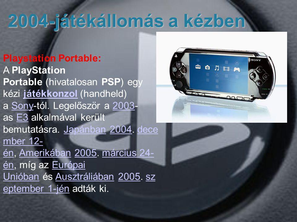 2004-játékállomás a kézben Playstation Portable: A PlayStation Portable (hivatalosan PSP) egy kézi játékkonzol (handheld) a Sony-tól.