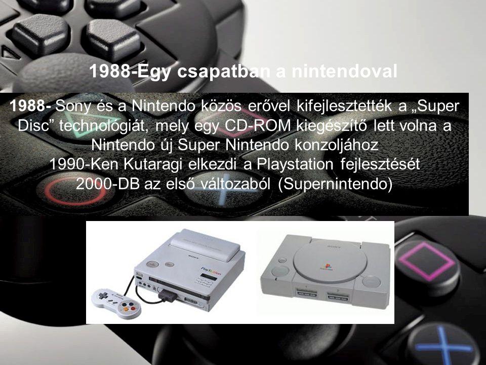 """1988-Egy csapatban a nintendoval 1988- Sony és a Nintendo közös erővel kifejlesztették a """"Super Disc technológiát, mely egy CD-ROM kiegészítő lett volna a Nintendo új Super Nintendo konzoljához 1990-Ken Kutaragi elkezdi a Playstation fejlesztését 2000-DB az első változaból (Supernintendo)"""