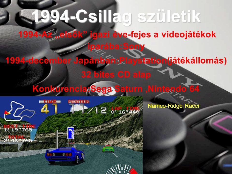 1994-Csillag születik 1994-Az,,elsők igazi éve-fejes a videojátékok iparába:Sony 1994-december Japánban:Playstation(játékállomás) 32 bites CD alap Konkurencia:Sega Saturn,Nintendo 64 Namco-Ridge Racer