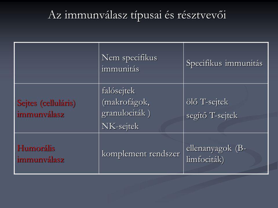 Az immunválasz típusai és résztvevői Nem specifikus immunitás Specifikus immunitás Sejtes (celluláris) immunválasz falósejtek (makrofágok, granulocitá
