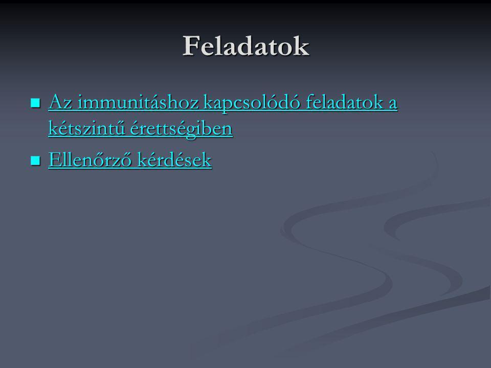 Feladatok  Az immunitáshoz kapcsolódó feladatok a kétszintű érettségiben Az immunitáshoz kapcsolódó feladatok a kétszintű érettségiben Az immunitásho