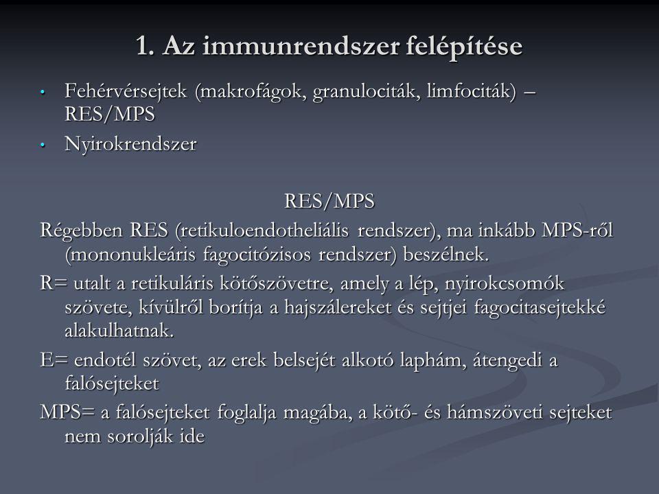 1. Az immunrendszer felépítése • Fehérvérsejtek (makrofágok, granulociták, limfociták) – RES/MPS • Nyirokrendszer RES/MPS Régebben RES (retikuloendoth