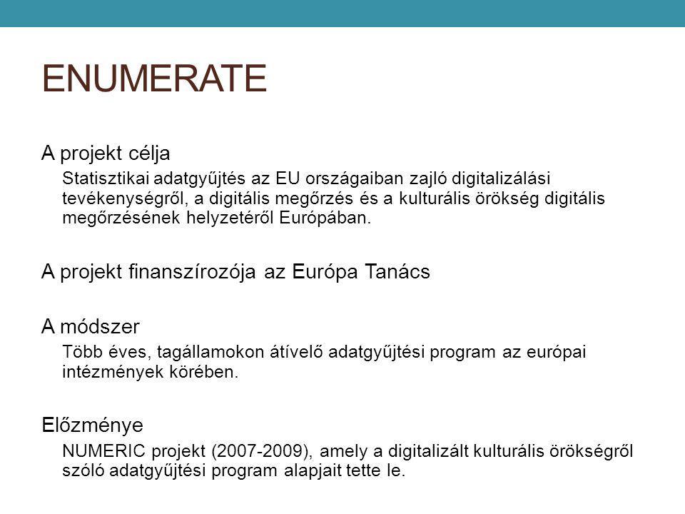 ENUMERATE A projekt célja Statisztikai adatgyűjtés az EU országaiban zajló digitalizálási tevékenységről, a digitális megőrzés és a kulturális örökség