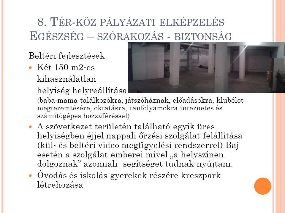 8. T ÉR - KÖZ PÁLYÁZATI ELKÉPZELÉS E GÉSZSÉG – SZÓRAKOZÁS - BIZTONSÁG Beltéri fejlesztések  Két 150 m2-es kihasználatlan helyiség helyreállítása. (ba
