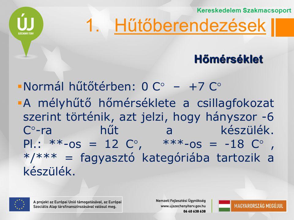  Normál hűtőtérben: 0 C – +7 C  A mélyhűtő hőmérséklete a csillagfokozat szerint történik, azt jelzi, hogy hányszor -6 C-ra hűt a készülék. Pl.: