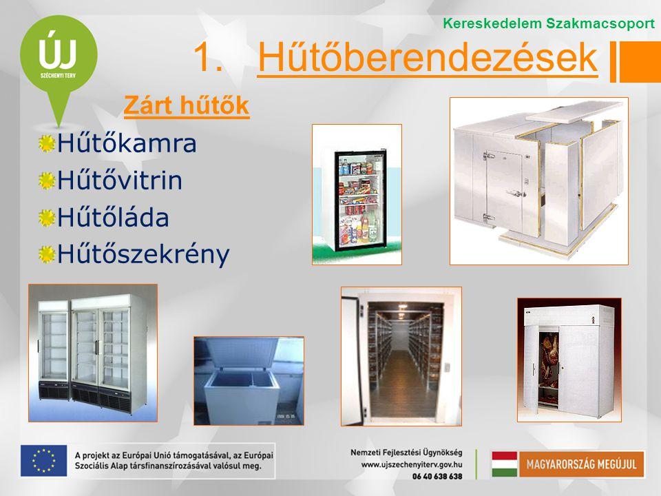 Hűtőkamra Hűtővitrin Hűtőláda Hűtőszekrény 1.Hűtőberendezések Zárt hűtők Kereskedelem Szakmacsoport