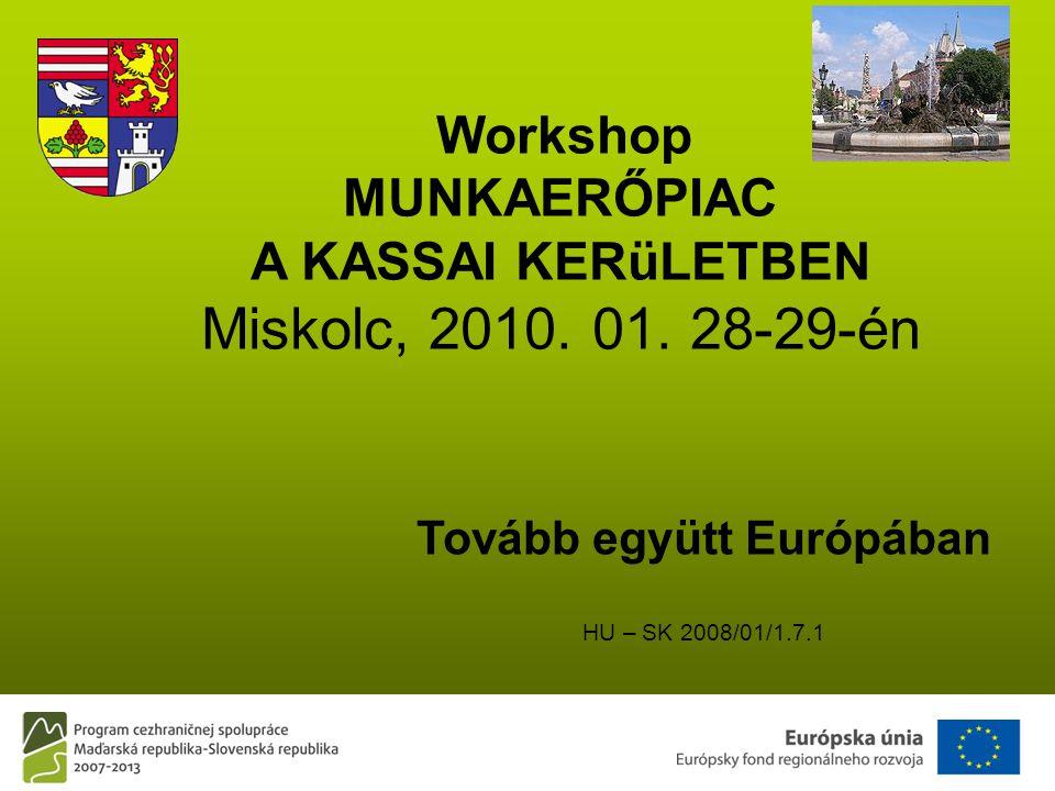 Tovább együtt Európában HU – SK 2008/01/1.7.1 Workshop MUNKAERŐPIAC A KASSAI KERüLETBEN Miskolc, 2010.