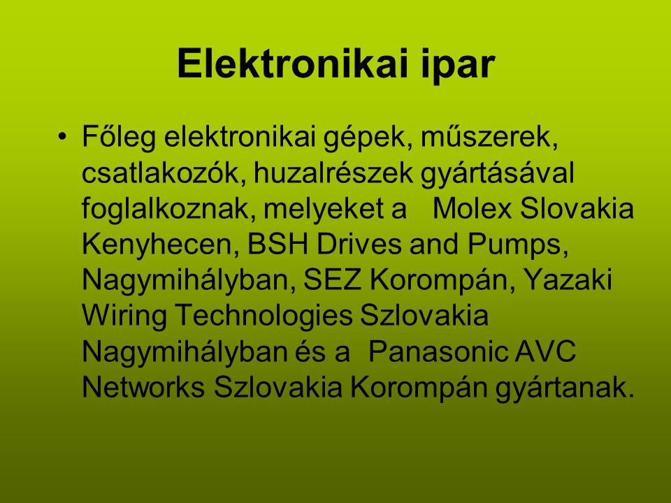 Elektronikai ipar •Főleg elektronikai gépek, műszerek, csatlakozók, huzalrészek gyártásával foglalkoznak, melyeket a Molex Slovakia Kenyhecen, BSH Drives and Pumps, Nagymihályban, SEZ Korompán, Yazaki Wiring Technologies Szlovakia Nagymihályban és a Panasonic AVC Networks Szlovakia Korompán gyártanak.