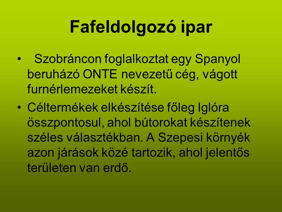 Fafeldolgozó ipar • Szobráncon foglalkoztat egy Spanyol beruházó ONTE nevezetű cég, vágott furnérlemezeket készít.