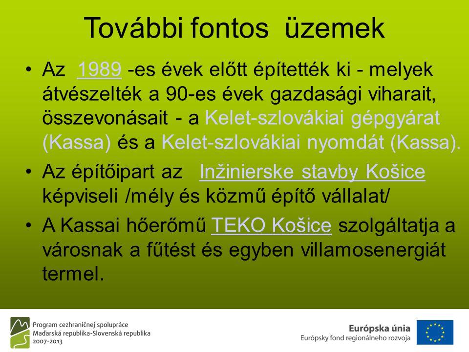 További fontos üzemek •Az 1989 -es évek előtt építették ki - melyek átvészelték a 90-es évek gazdasági viharait, összevonásait - a Kelet-szlovákiai gépgyárat (Kassa) és a Kelet-szlovákiai nyomdát (Kassa).1989 •Az építőipart az Inžinierske stavby Košice képviseli /mély és közmű építő vállalat/Inžinierske stavby Košice •A Kassai hőerőmű TEKO Košice szolgáltatja a városnak a fűtést és egyben villamosenergiát termel.TEKO Košice