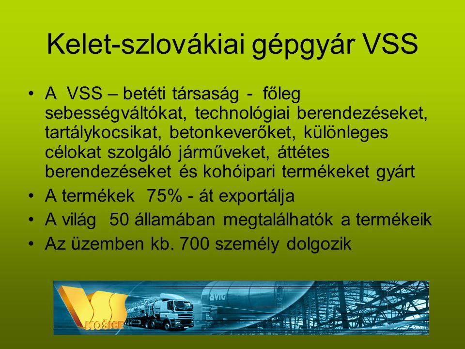Kelet-szlovákiai gépgyár VSS •A VSS – betéti társaság - főleg sebességváltókat, technológiai berendezéseket, tartálykocsikat, betonkeverőket, különleges célokat szolgáló járműveket, áttétes berendezéseket és kohóipari termékeket gyárt •A termékek 75% - át exportálja •A világ 50 államában megtalálhatók a termékeik •Az üzemben kb.