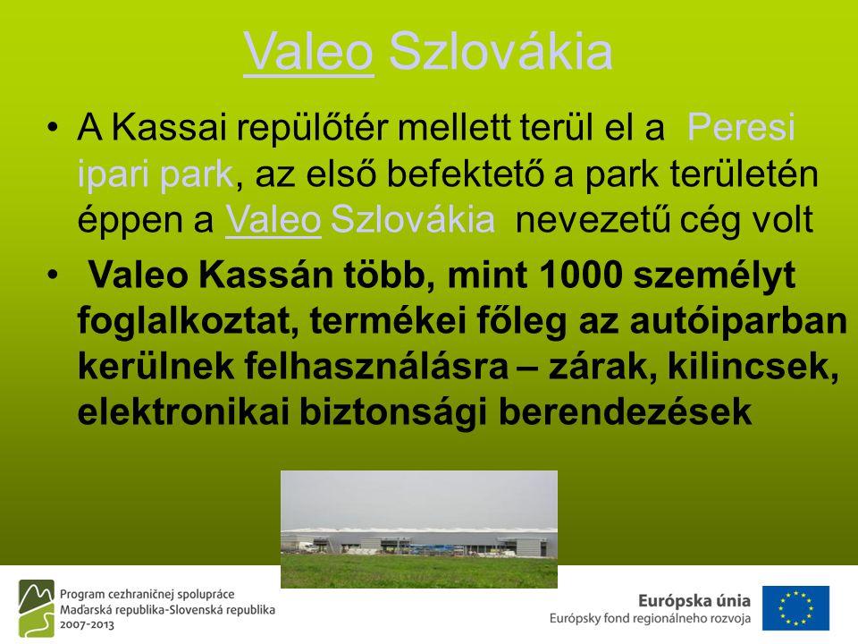 ValeoValeo Szlovákia •A Kassai repülőtér mellett terül el a Peresi ipari park, az első befektető a park területén éppen a Valeo Szlovákia nevezetű cég voltValeo • Valeo Kassán több, mint 1000 személyt foglalkoztat, termékei főleg az autóiparban kerülnek felhasználásra – zárak, kilincsek, elektronikai biztonsági berendezések